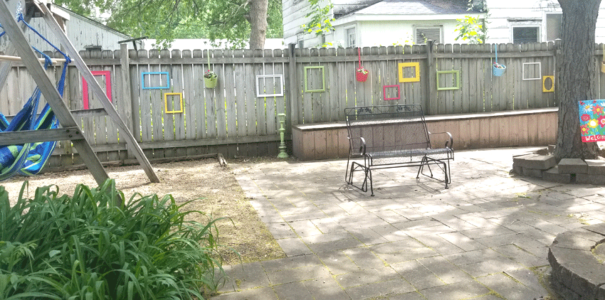 The finished fence with the colorful frames