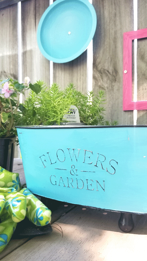 Finished distressed metal flower container to give as a gift or use in my outside space