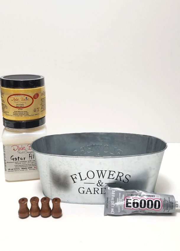 Supplies needed for this distressed metal flower container