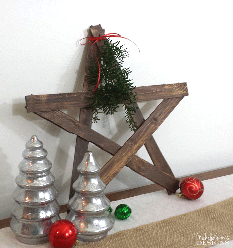 Cute wooden star displayed in my living room .