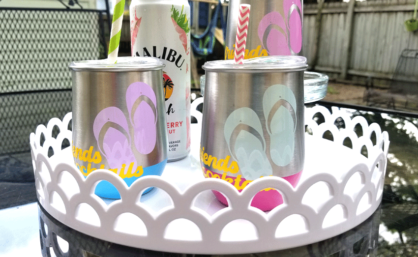 Finished metal wine glasses with sun changing vinyl.   Pink, purple and blue flip flops after being in the sun.