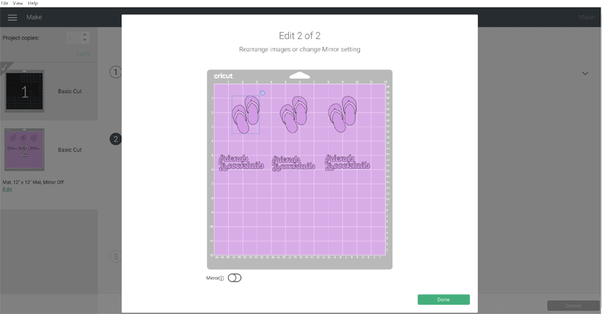 Screen shot of Cricut design space with the flip flops and the text design