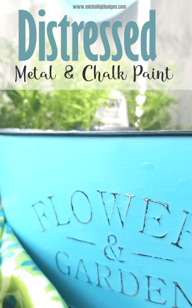Close up of the distressed text on this distressed metal flower container from Dollar Tree