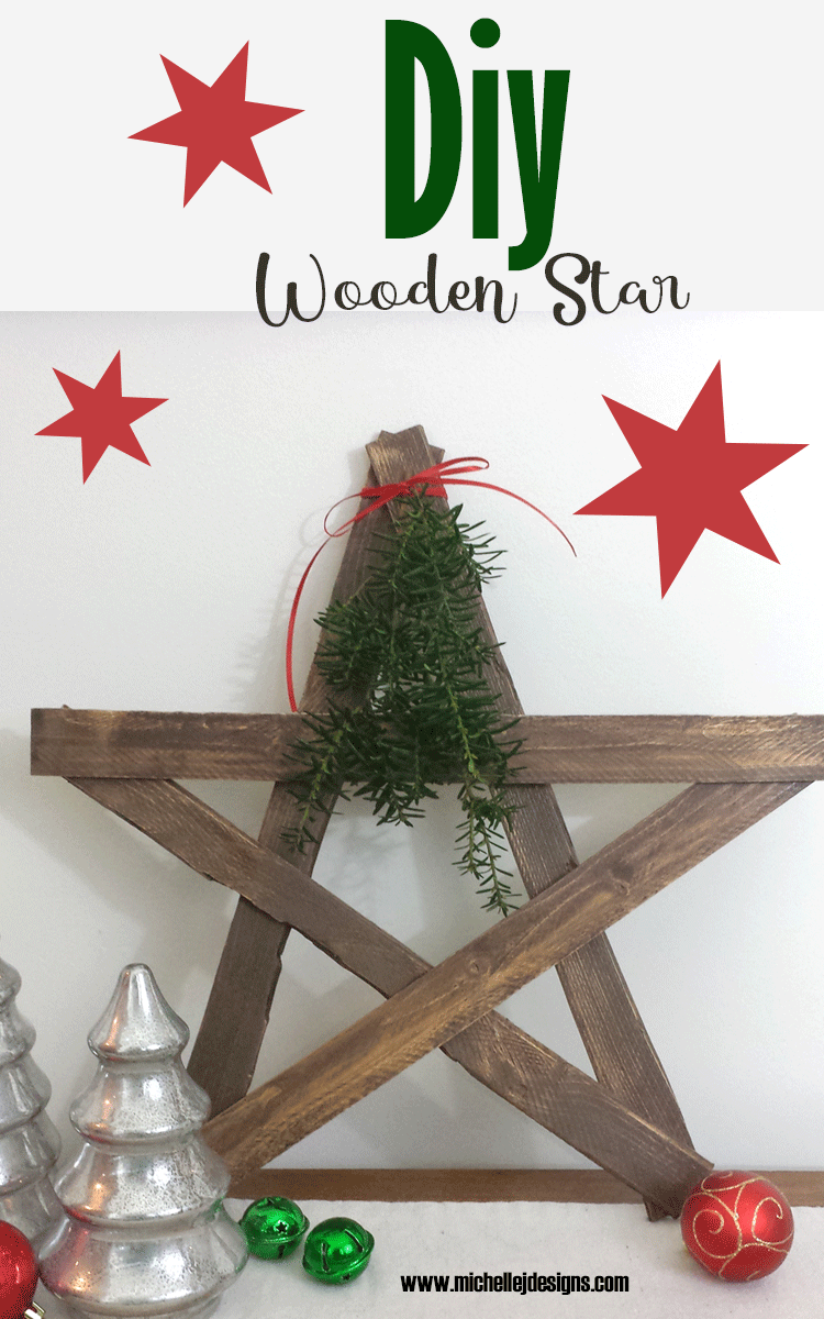 Finished wooden star made from stained lath pieces