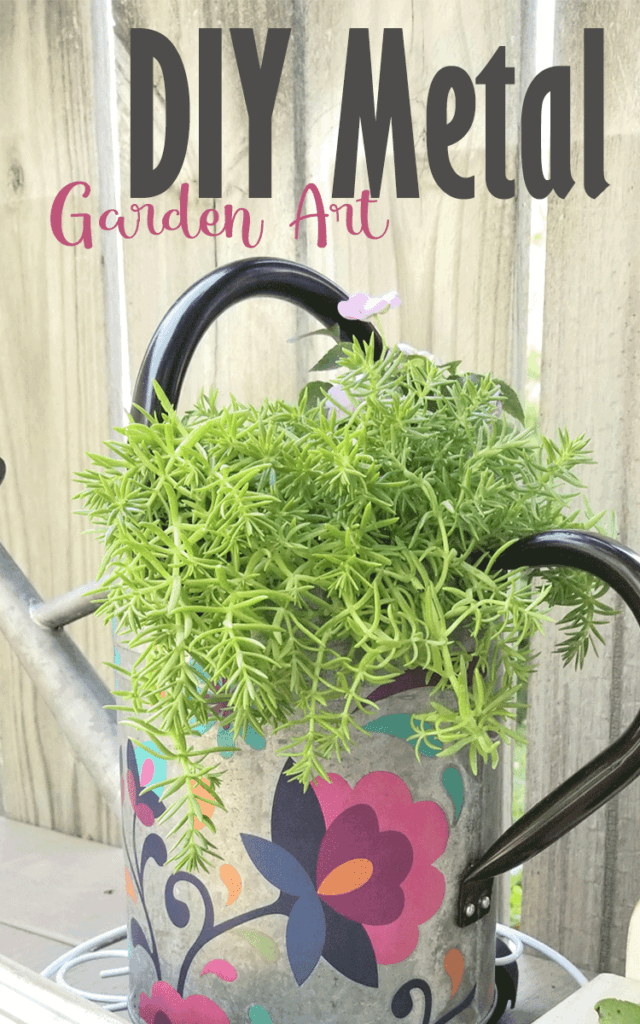 This finished DIY Metal Garden Art watering can was decorated with Dixie Belle transfers.