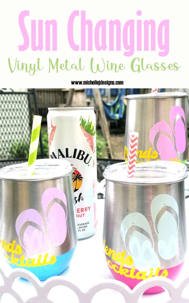 Finished metal wine glasses with sun changing vinyl in purple, blue and pink.