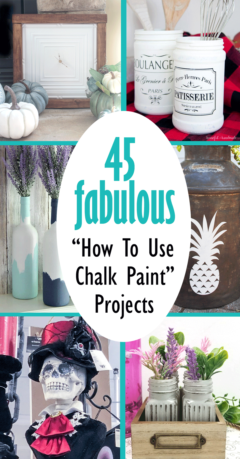 Six of the 45 fabulous projects from the round up of how to use chalk paint projects.