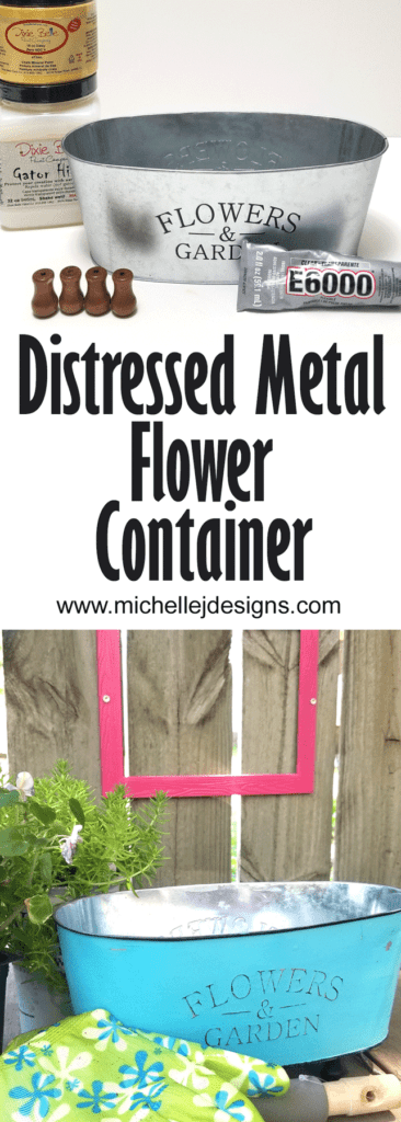 Supplies for the project and the finished distressed metal with chalk paint flower container