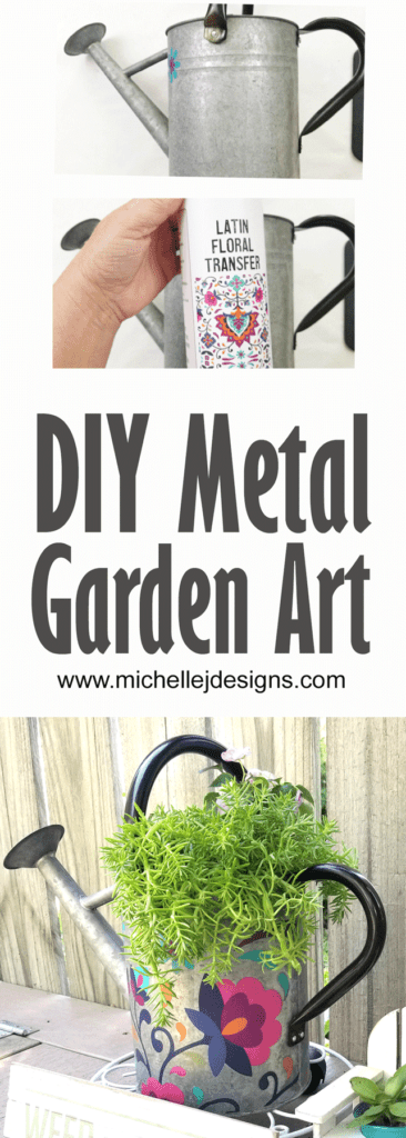Finished diy metal garden art with Dixie Belle Transfers.