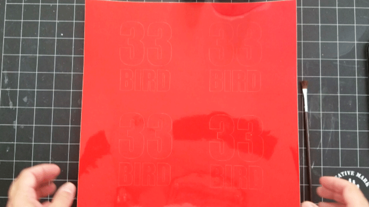 The cut vinyl piece with four designs for stencils