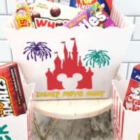 Finished Disney movie night popcorn bucket using Luster vinyl