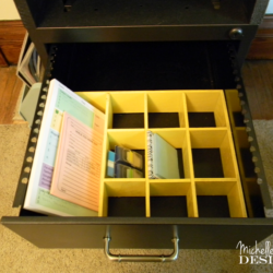 Instant-Desk-Drawer-Organizer - www.michellejdesigns.com - Use what you already have to organize your home #organize, #diy, #upcycle