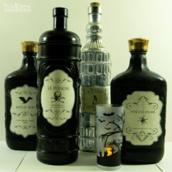 Halloween Bottle Labels - www.michellejdesigns.com - Print these free Halloween labels. Great for wine bottles or just spooky bottles for your holiday decor!