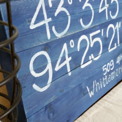 Coordinates Sign - www.michellejdesigns.com - Mark your spot in the world. My friend had me make a sign marking their neighbors house as a going away gift when they moved!