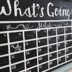 How To Create A Chalkboard Calendar - www.michellejdesigns.com - Create and amazing and affordable chalkboard calendar with a frame, some wood and some paint!