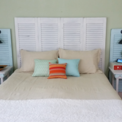 Drop_Cloth_Bedspread_And_Pillow_Shams - www.michellejdesigns.com - I created a budget friendly bedspread and pillow shams using one drop cloth for $13. It was easy-peasy!