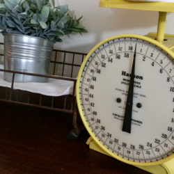 A Pretty Scale For Your Farmhouse Look - www.michellejdesigns.com - All it took was a little a paint to take this scale from a boring gray piece to an amazing yellow show stopper