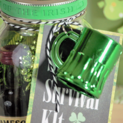 This mason jar St. Patrick's Day survival kit is essential for staying warm and happy during the St Patrick's day festivities. - www.michellejdesigns.com