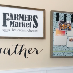 Farmhouse decor is all of the rage these days and I love it too. I am creating a DIY farmhouse kitchen sign that says Farmers Market! - www.michellejdesigns.com