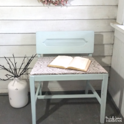 This sweet DIY vanity chair was broken and sad. With a coat of nice paint and a new seat it is perfect! - www.michellejdesigns.com