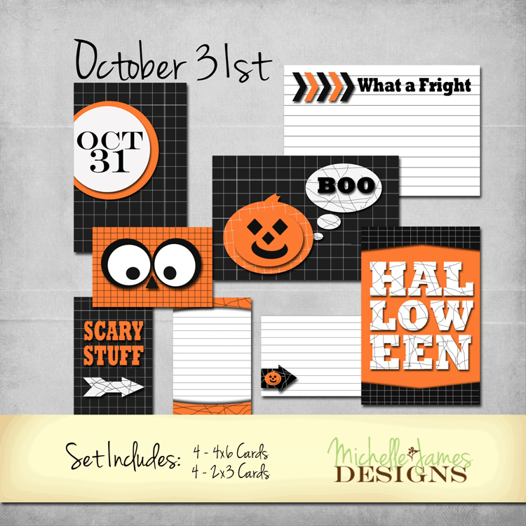 October 31st Kit for Project Life Pocket Pages - www.michellejdesigns.com