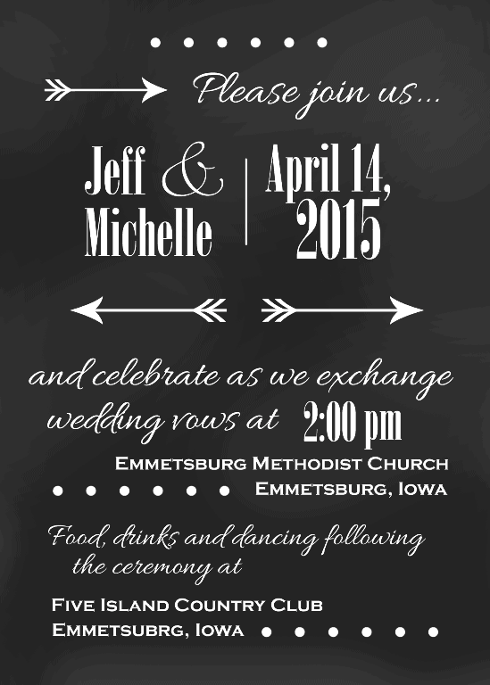 chalkboard wedding invitation suite michelle james designs
