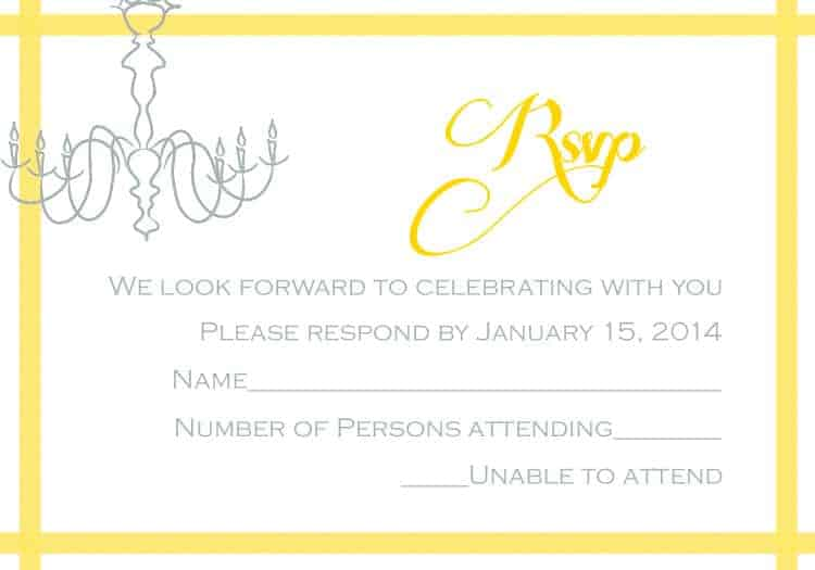 Chandelier RSVP Card  - www.michellejdesigns.com