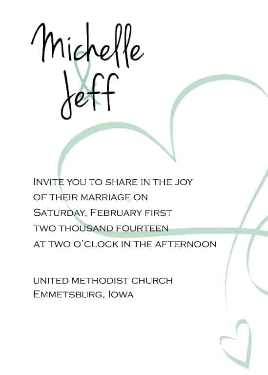 Swirl Heart Invitation - www.michellejdesigns.com