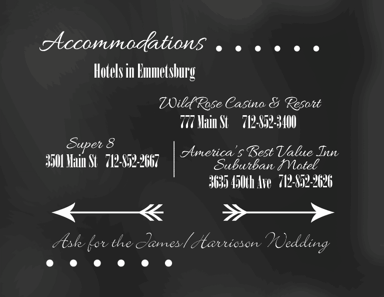 Chalkboard Accommodations Card - www.michellejdesigns.com