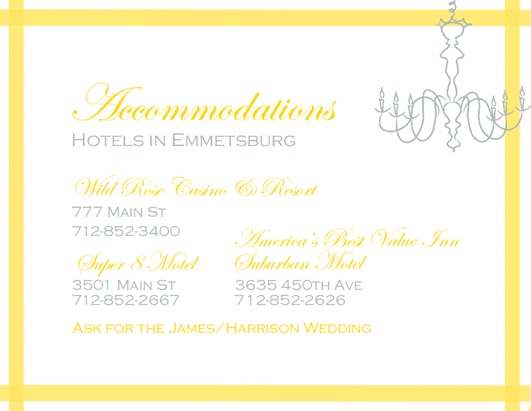 Chandelier Accommodations Add-On Card - www.michellejdesigns.com
