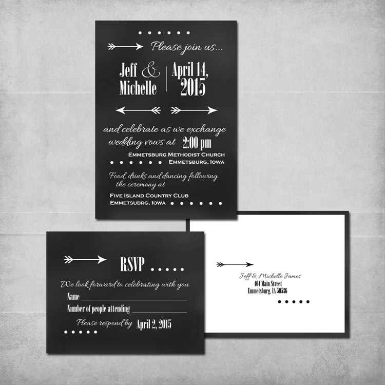 Chalkboard Wedding Invitation Suite - www.michellejdesigns.com - A DIY chalkboard wedding invitation.  Customized by Michelle James Designs for you.