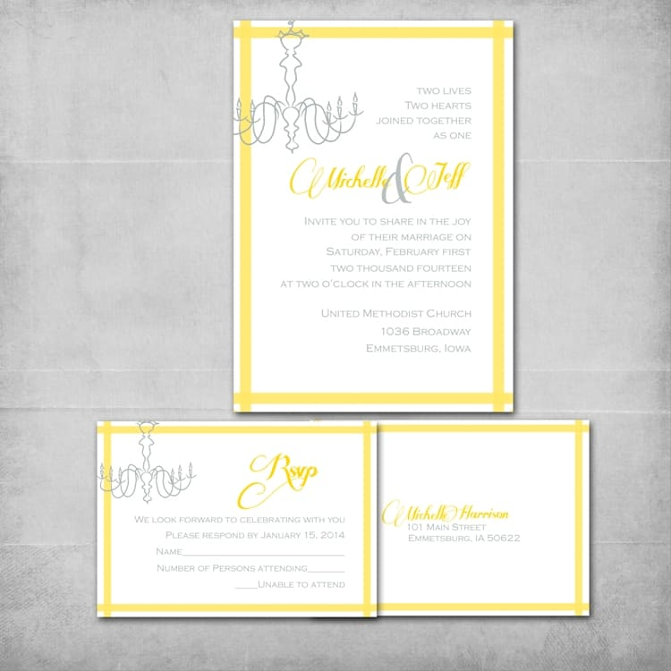 Chandelier Wedding Invitation Suite - www.michellejdesigns.com - This elegant DIY Wedding invitation is customized for the couple by Michelle James Designs