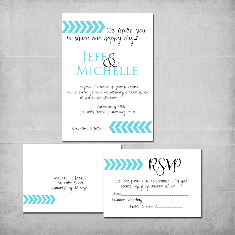 Chevron Arrows Wedding Invitation & Reply Card - www.michellejdesigns.com - Customized colors and wording by Michelle James Designs makes the perfect DIY Wedding Invitation