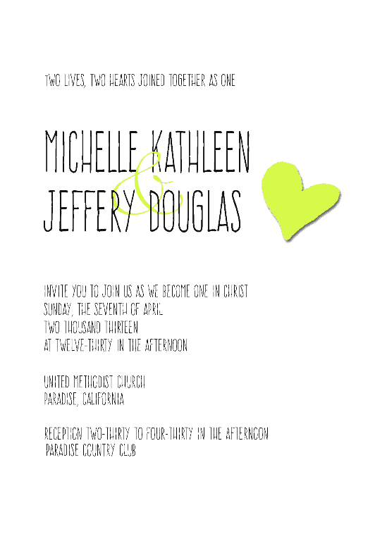 Heart Wedding Invitation and Reply Card - www.michellejdesigns.com - Perfect for the modern, casual bride/couple.  Choose colors and wording to fit your DIY Wedding