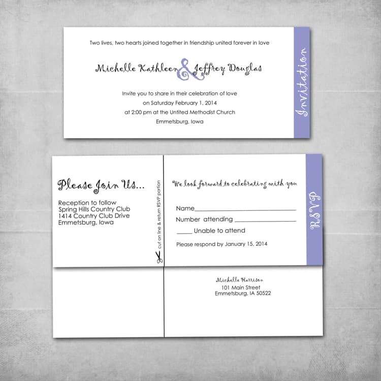 Layered Wedding Invitation, Reply Card - www.michellejdesigns.com - A fun style of DIY Wedding Invitation that stacks with the reply card.  We can also create add-on's such as an Accommodation Card to add to it.