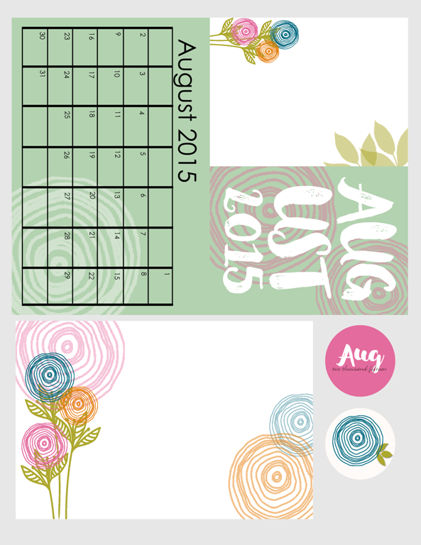 August 2015 Kit - www.michellejdesigns.com - Perfect for Project Life and Pocket pages and scrapbooking pages