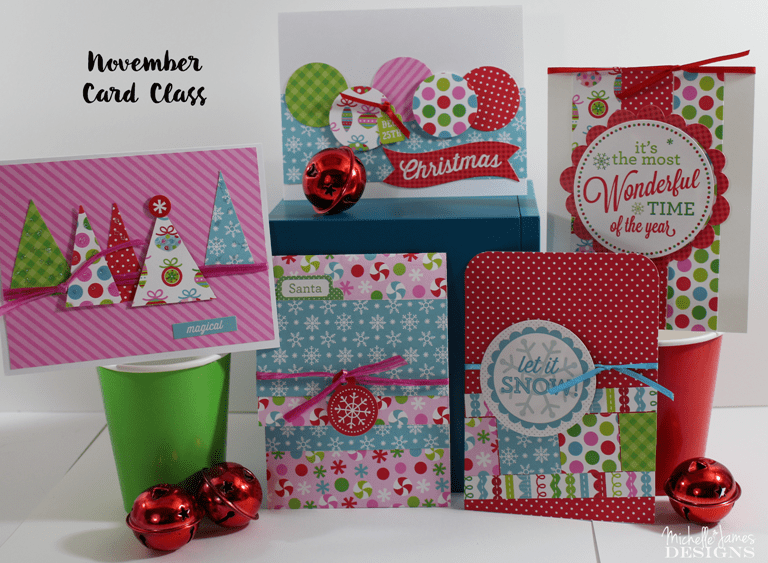 November Card Class - www.michellejdesigns.com - The Doodlebug Sugarplums kit comes to life with 5 magical Christmas cards for you to make and send!