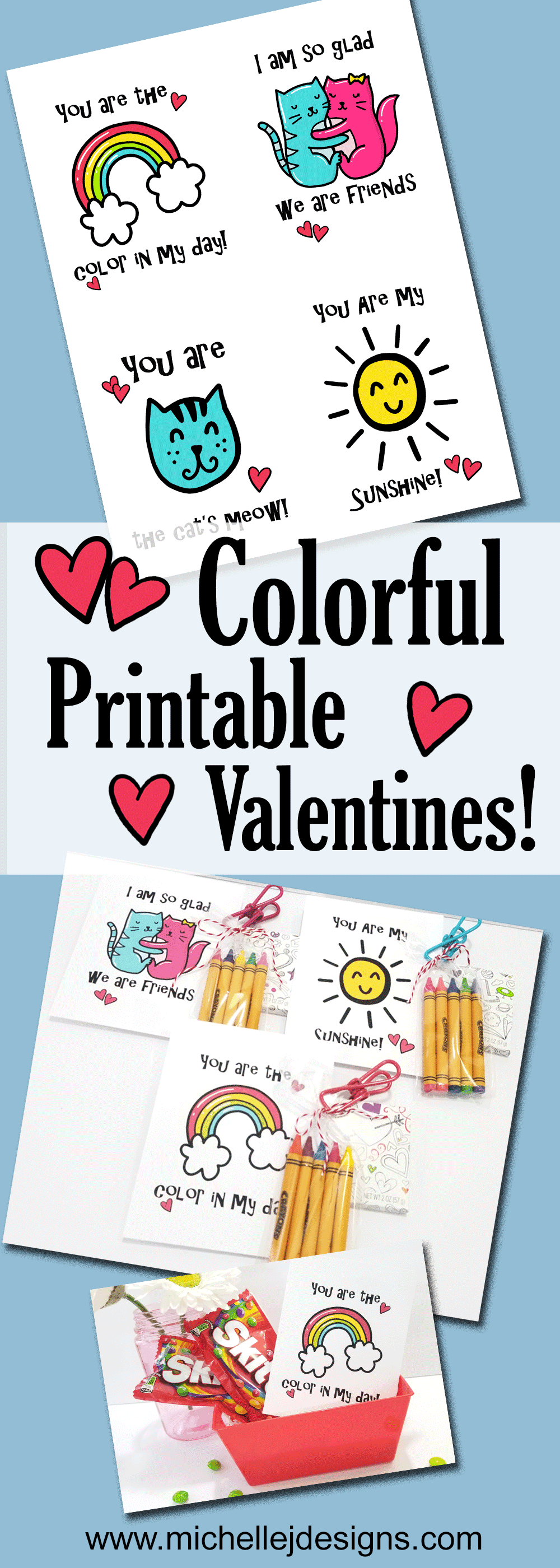These bright, colorful Valentines are perfect for many occasions, not just Valentine's Day. - www.michellejdesigns.com